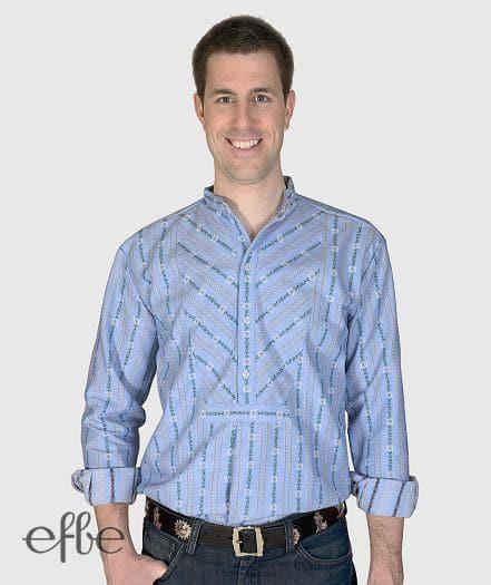 Hellblaues Edelweiss Hemd mit Doppelschrägbrust langarm