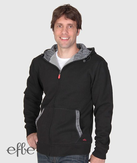 Schwarze Kapuzenjacke mit grauem Innenfutter und Taschen