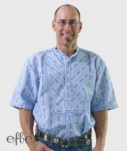 Hellblaues Edelweiss Hemd mit Doppelschrägbrust kurzarm