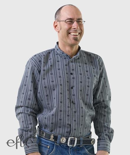 Grau gestreiftes Edelweiss Hemd langarm