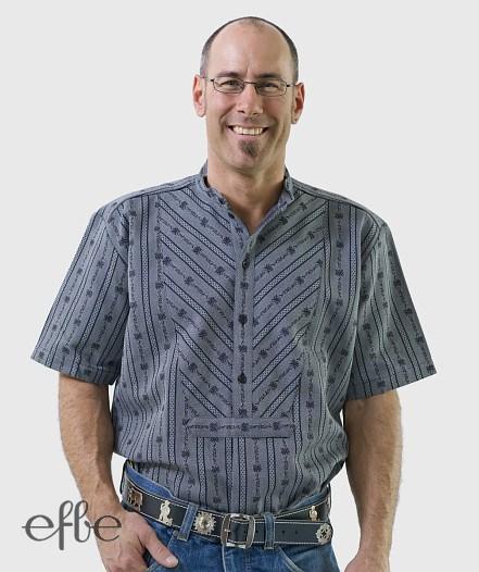 Kurzärmeliges Hemd mit Doppelschrägbrust dunkel