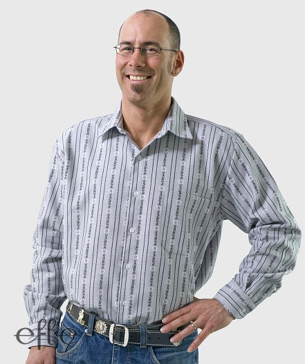 Grau weiß gestreiftes Hemd mit Edelweiss Motiven langarm
