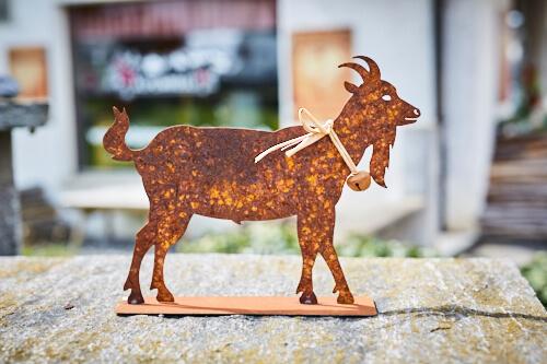 Tier rostfigur ziege klein mit glocke alpenroesli for Rostfiguren tiere