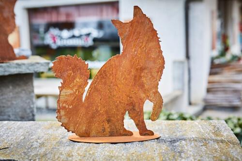 Tier rostfigur katze wuschelig alpenroesli for Rostfiguren tiere